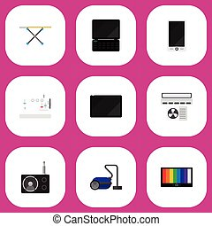 Set Of 9 Editable Tech Icons. Includes Symbols Such As...