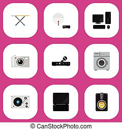 Set Of 9 Editable Technology Icons. Includes Symbols Such As...