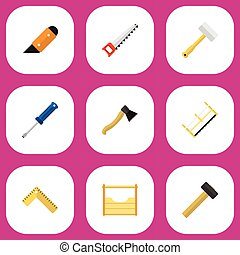 Set Of 9 Editable Tools Flat Icons. Includes Symbols Such As Instruments, Malleus, Tool And More