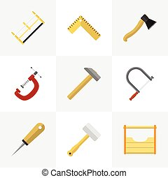 Set Of 9 Editable Tools Icons. Includes Symbols Such As Hammer, Hacksaw, Meter And More. Can Be Used For Web, Mobile, UI And Infographic Design.