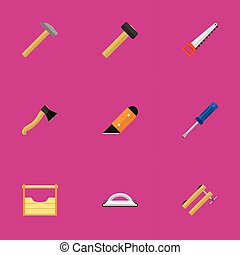 Set Of 9 Editable Tools Icons. Includes Symbols Such As Turn-Screw, Malleus, Axe And More. Can Be Used For Web, Mobile, UI And Infographic Design.