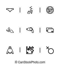 Set Of 9 Editable Trade Icons. Includes Symbols Such As Debit Card, Boy Symbol, Heeled Shoe And More. Can Be Used For Web, Mobile, UI And Infographic Design.
