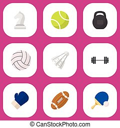 Set Of 9 Editable Training Flat Icons. Includes Symbols Such...