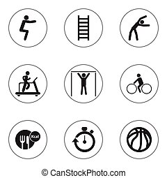 Set Of 9 Editable Training Icons. Includes Symbols Such As Jogging, Stopwatch, Street Workout And More. Can Be Used For Web, Mobile, UI And Infographic Design.