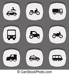 Set Of 9 Editable Transportation Icons. Includes Symbols Such As Motorbus, Part Of Car, Suv And More. Can Be Used For Web, Mobile, UI And Infographic Design.