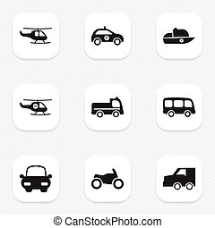 Set Of 9 Editable Transportation Icons. Includes Symbols Such As Vessel, Tour Bus, Automotive And More. Can Be Used For Web, Mobile, UI And Infographic Design.