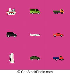Set Of 9 Editable Vehicle Icons. Includes Symbols Such As Automobile, Aircraft, Boat And More. Can Be Used For Web, Mobile, UI And Infographic Design.