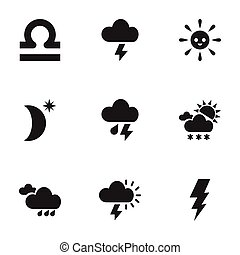 Set Of 9 Editable Weather Icons. Includes Symbols Such As Stormy, Electrical Discharge, Rainy Autumn And More. Can Be Used For Web, Mobile, UI And Infographic Design.