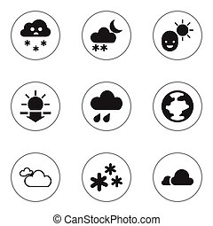 Set Of 9 Editable Weather Icons. Includes Symbols Such As...