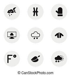 Set Of 9 Editable Weather Icons. Includes Symbols Such As Fishes, Fahrenheit, Snow Granule And More. Can Be Used For Web, Mobile, UI And Infographic Design.
