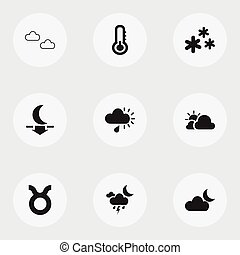 Set Of 9 Editable Weather Icons. Includes Symbols Such As Lunar, Clear Air, Mist And More. Can Be Used For Web, Mobile, UI And Infographic Design.