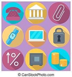 Set of 9 finance and banking colorful round icons