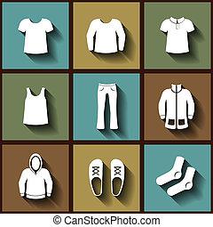 Set of 9 flat icons of men clothing. Eps10
