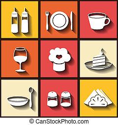 Set of 9 flat icons of kitchen utensils. Eps10
