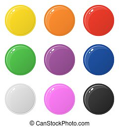 Set of 9 glossy round colorful buttons isolated on white. Vector illustration for design, game, web.