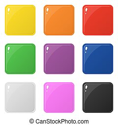 Set of 9 glossy square colorful buttons isolated on white. Vector illustration for design, game, web.