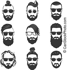 Set of 9 hipsters bearded men with different hairstyles,...