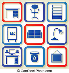 Set of 9 icons with furniture