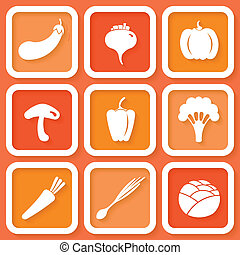 Set of 9 icons with vegetables