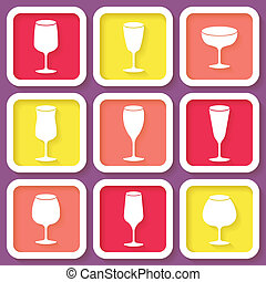 Set of 9 icons with wine glasses