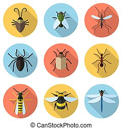 Set of 9 insects icons