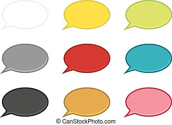 Set of 9 isolated speech bubbles