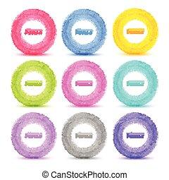 Set of 9 Light Hand drawn colorful watercolor circles, ...