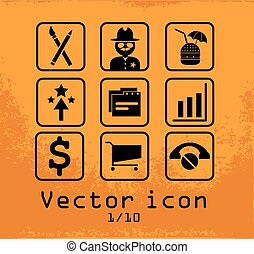 set of 9 line icons - set of 9 line black icons in a frame...