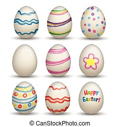 Set Of 9 Natural Colored Easter Egss