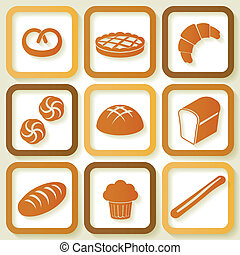 Set of 9 retro icons of fresh bread