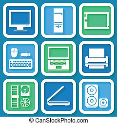 Set of 9 retro icons with computers