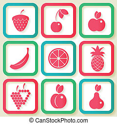 Set of 9 retro icons with fruits