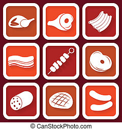 Set of 9 retro icons with meat