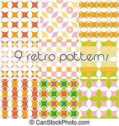 set of 9 retro patterns