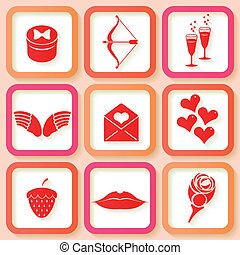 Set of 9 retro pink icons