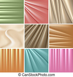 Set of 9 satin backgrounds. Vector illustration.