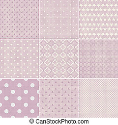 set of 9 seamless polka dot patterns in pastel girly colors