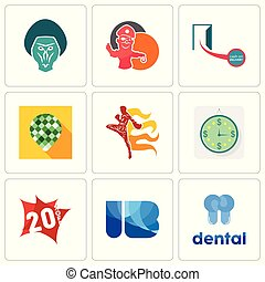 Set Of 9 simple editable icons such as dental, ib, 20% off