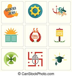 Set Of 9 simple editable icons such as education, jain,...