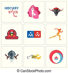 Set Of 9 simple editable icons such as heating cooling, chopper, shield and sword