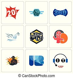 Set Of 9 simple editable icons such as it helpdesk, ib, outlaw