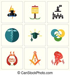 Set Of 9 simple editable icons such as, masonic, chili cook off