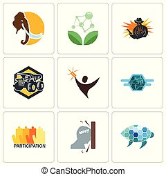 Set Of 9 simple editable icons such as sea turtle, frustration, participation