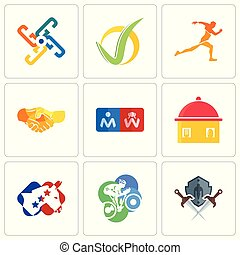 Set Of 9 simple editable icons such as shield and sword, cyclist, democrat