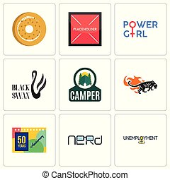 Set Of 9 simple editable icons such as unemployment, nerd, 50 years anniversary