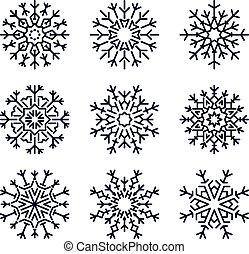 Set of 9 simple shape stylish black snowflakes for your design. Vector geometric pattern.