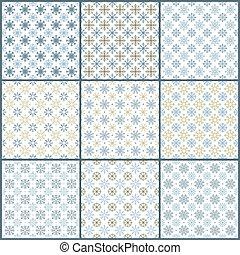 Set of 9 snowflakes pattern - Set of 9 seamless snowflakes...