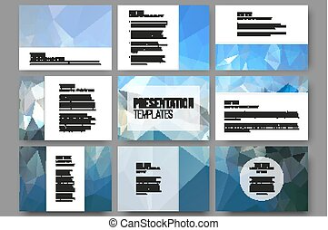 Set of 9 templates for presentation slides. Abstract blue backgrounds. Triangle design vectors