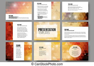 Set of 9 templates for presentation slides. Abstract gray backgrounds. Triangle design vectors
