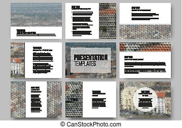 Set of 9 templates for presentation slides. City landscape. Abstract multicolored backgrounds. Geometrical patterns. Triangular and hexagonal style